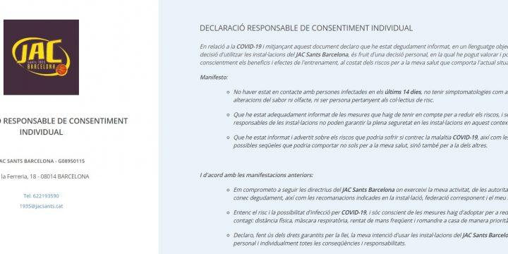 DECLARACIÓ RESPONSABLE COVID-19 ON-LINE